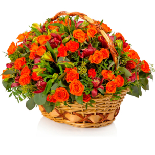 """Цветы в корзинке """"Алый закат"""""""